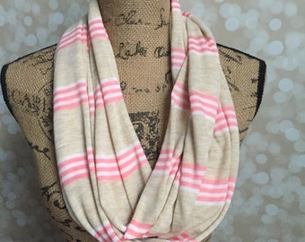 Lightweight Coral, Cream and Khaki Infinity Scarf