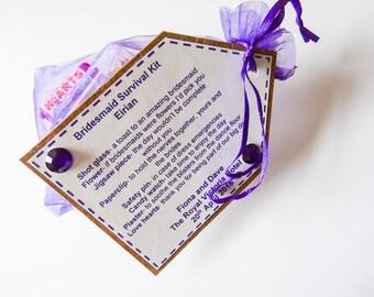 Personalised Bridesmaid Survival Kit Cheif Bridesmaid, Maid of Honour