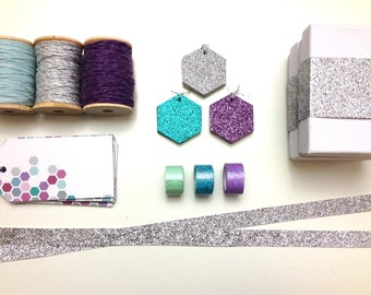 Hexagon Tag & Twine Packaging Kit in Purples and Blues
