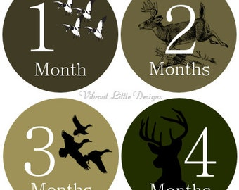 Monthly Milestone Stickers Boy, Monthly Baby Stickers, Month to Month Stickers Boy, Camo, Antlers, duck hunting, Deer  #122
