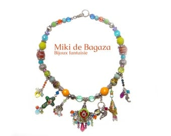"Bollywood style colored  necklace ""Holi"" with glass and cristal beads"