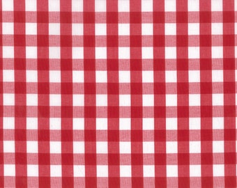 """Fabric """"Sunday Picnic"""" in Red Checkered Gingham Print - By the Yard"""