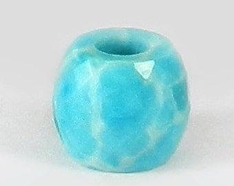 On sale - 2 pcs - Synthetic larimar - 11*13mm - Barrel - Facet Beads - 5mm Big hole - Large hole bead - bracelet - Gemstone - SHBD139
