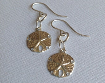 Sterling Silver Sand Dollar Earrings. Silver Earrings, Sand Dollar Earrings,Ocean, Beach Wedding, Beach Jewelry, Vacation Jewelry, Handmade