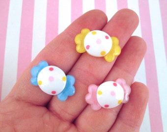 3 Multicolor Hard Candy Cabochons, Cute Resin Taffy Candies #031