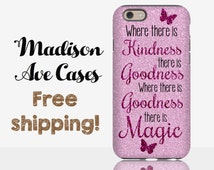 Where There Is Kindness There Is Goodness Magic Purple Glitter Disney Quote Girly Samsung Galaxy Edge S5 S6 S7 iPhone 5 6 6s Plus Phone Case
