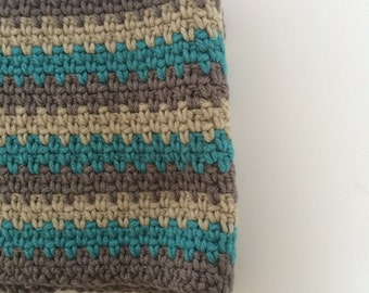 Chunky Striped Crochet Cowl - Turquoise/Grey/Beige
