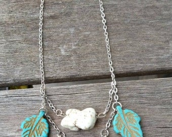 Turquoise Leaf Arrow Necklace /double chain