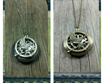 The Hunger Games Mocking Jay Essential-Oil Diffusing Locket Necklace / aromatherapy / handmade /EO Diffuser Necklace