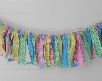 Spring Rag Garland, Summer Rag Garland, Easter Rag Garland, Mantle Decor, Fabric Rag Garland, Photo Prop, Rag Garland