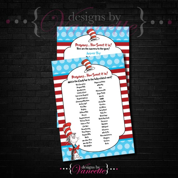 Candy Baby Shower Game: Dr Seuss Candy Bar Game Dr. Seuss Candy Game By