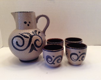 Scheurich Keramik Cobalt Blue Pitcher and Four Cups West Germany European Stoneware Salt Pottery ~ Vintage
