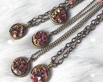 Short Gold Magenta Druzy Necklace