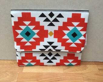 Orange Geometric Fold Over Clutch Bag