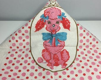 vintage pink poodle and polka dots linen kitchen towel