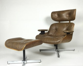 Mid Century Lounge Chair + Ottoman Eames style modern