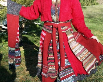 Red Knit Coat Made from Recycled Sweaters