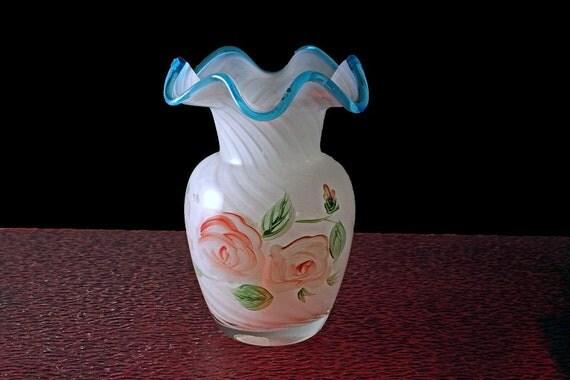 Ruffled Vase, Cased Swirl Glass, Floral Roses, 6 Inch Vase, White and Blue, Art Vase