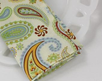 Paisley napkins, cloth napkins, cotton fabric napkins, table linens, funky home decor, picnic basket supplies, teacher gift, 12x12 set of 4