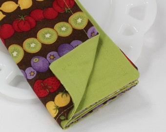 Reversible napkins, cotton lunch napkins, cloth napkins, fruit print linens, fruit decor, tabletop decor, place settings, 12x12 set of 4