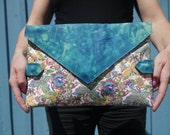 Envelope style clutch bag, vintage turquoise leather with Butterfly printed leather, perfect Mother's Day gift, made in the USA