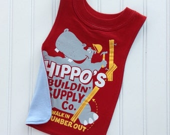 Big Boy Hippo Pull-Over T-Shirt Bib.  Perfect gift for you little builder!