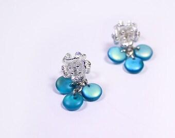 teal earrings blue post studs mini earrings flower studs beach jewelry/for/kids gifts deep blue earrings birthday gift/idea/for/ mom пя59