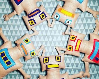 Stuffed fabric and felt robot doll
