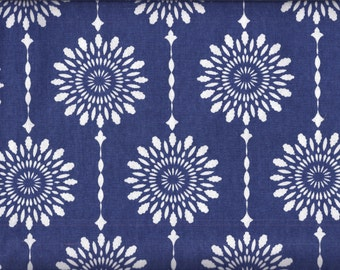 Blue and White Medallion Drop Curtain Valance