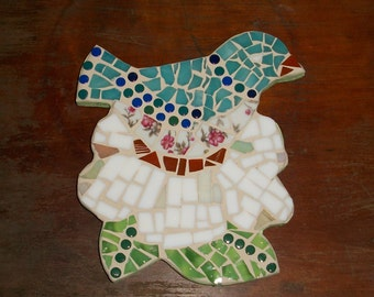 "Blue Bird on a Flower Mosaic,glass on wood,7.5""x6.5"",Nature,Daisy,hand made"