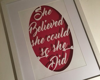 She believed she could - papercut - wall art - nursery decor