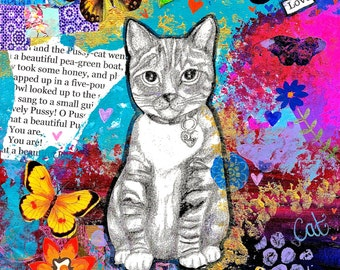REDUCED Mixed Media and Collage Cat/Kitten Art Print