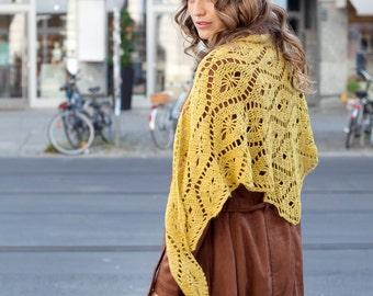 Femmes écharpe alpaga crochet en couleur moutarde / custom