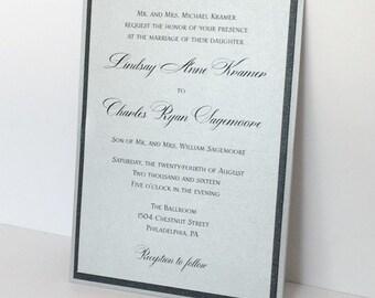Silver and Black Lace Wedding Invitation, Silver Panel Pocket Invitation