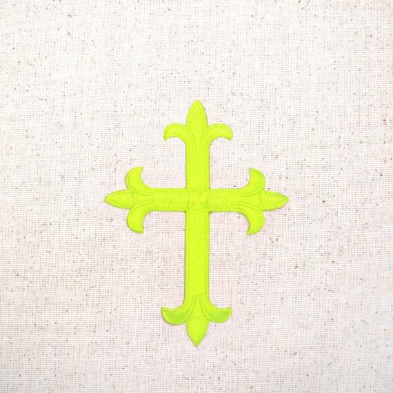 Fleur De Lis Religious Cross Neon Yellow by WholesaleApplique