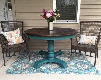 Sold - 4ft Teal/Turquoise Double Pedestal Table