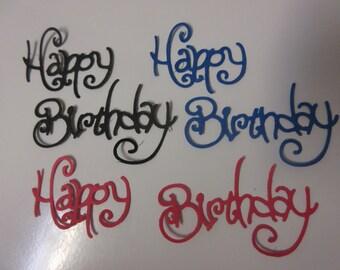 """9-3 1/8"""" x 2 1/2"""" Happy Birthday Die Cuts-Black, Red, or Blue Happy Birthday Dies"""