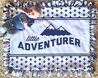 Baby Blanket - Fleece Adventure Tag Blanket - Black Fleece Backing - Crib Blanket - Modern Monochrome Nursery Decor, Newborn Blanket, Gift