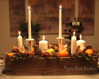 Rustic table centerpiece. Various sizes and stains available. Rustic wedding, Farm house flower box, seasonal decoration, cottage chic.