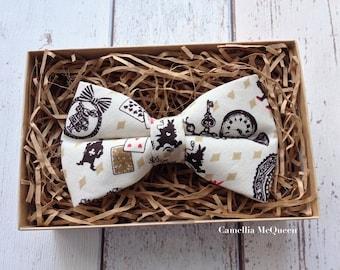 Men's bow tie, boys' bow tie, Alice in Wonderland bow tie