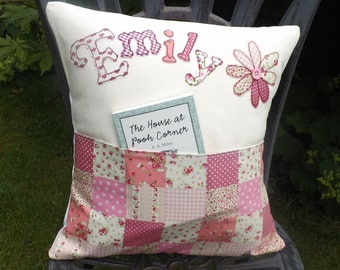 Story book cushion, personalised with front pocket
