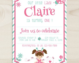 Ladybug Birthday Invitation,Our,Lady,DIGITAL,cake,fun, Bug, Nature,Printable Ladybug party Invite,first birthday,1st,cute,pastel, pink