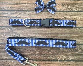 Mustache Dog Collar and Leash, Blue Mustache Collar and Leash Set, Mustache, Blue Dog Collar, Blue Dog Leash, Boy Dog Collars