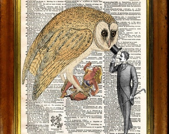 Good Day Mr Owl -  Surreal Pop Art Style - Vintage upcycled handmade dictionary Print