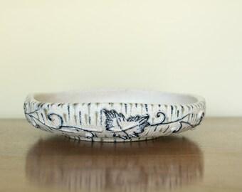Mid Century Italian Fratelli Fanciullacci Pottery Bowl w/Ivy Detail
