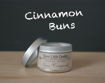 Cinnamon Buns Soy Candle Tins With Clear Lid - 2oz, 4oz or 8oz
