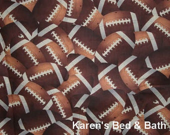 Football Game Fabric By the Yard, FQ Teen Boy Sports Packed Brown Footballs Cotton Quilting Apparel Fabric t6/29