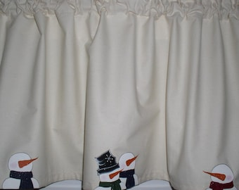 Attractive Hand Painted Snowmen On Muslin Valances Tiers Runners Primitive Country  Curtains Winter Decor Kitchen Window Treatments