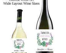 "Floral Mini & Standard Wine Labels | Personalized Wine Label Design | Mini 3 x 2"" or Standard 4 x 5"" Wine Labels"