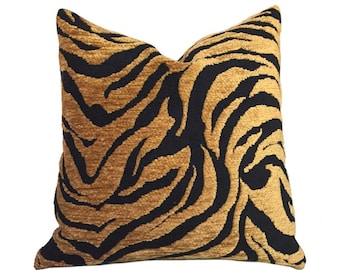 """Gold Tan & Black Abstract Tiger Animal Stripe Pillow Cover, Fits 12x18, 12x24, 14x20, 16x26 16"""" 18"""" 20"""" 22"""" 24"""" Cushion Inserts"""
